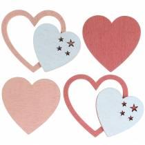 Décoration à contrôler coeur rose / blanc 24p