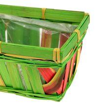 Panier multicolore rectangulaire en sangles tressées, 15 cm 12 p.