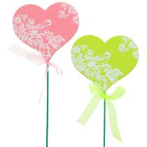 Plug coeur rose, vert 8,5cm x 7,5cm 12pcs