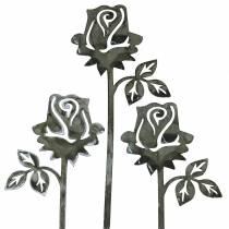 Bouchon en métal rose gris argenté, métal lavé à la chaux 20cm × 8cm 12pcs