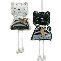 Chats en tissu à accrocher, décoration printanière, décoration cintre chat, décoration cadeau 4pcs