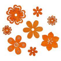 Déco à parsemer fleurs en bois orange 2 - 4 cm 96 p.