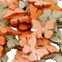 Papillons décorations à épandre Papillons en bois décoration d'été orange, abricot, marron 144p