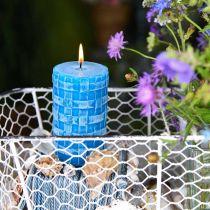 Bougies pilier rustique, bougies motif panier, bougies cire turquoise 110/65 2pcs