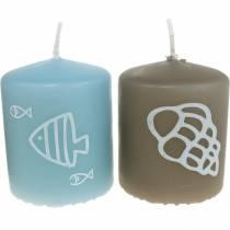 Bougies piliers 60/50 Bougie de décoration maritime Décoration d'été Mix Safe Candle 4pcs