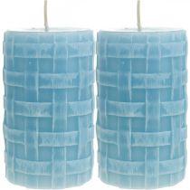 Bougies en cire motif panier, bougies piliers, bougies Rustique bleu clair 110/65 2pcs
