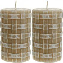 Bougies de cire rustique, bougies pilier marron, bougies tressées 110/65 2pcs