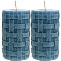 Bougies pilier bleu, bougies de cire Rustique, bougies avec motif tressé 110/65 2pcs