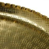 Plateau Orient-optic, assiette décorative dorée, décoration métal Ø18.5cm
