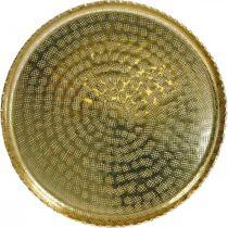 Plateau rond en métal, assiette décorative dorée, décoration orientale Ø30cm