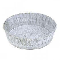 Assiette en métal forme biscuit, plateau décoratif rond, décoration de table blanchie Ø14cm H4cm