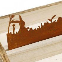 Plateau déco pré de Pâques, décoration printanière, plateau en bois avec rouille inox 35×15cm