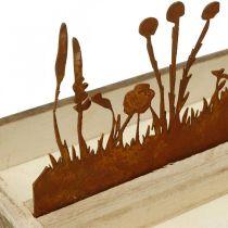Plateau en bois printemps prairie, décoration de Pâques, plateau décoratif rouille noble 35 × 15cm
