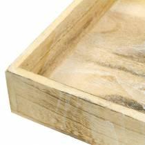 Plateau en bois carré blanc lavé 30 × 30cm / 25 × 25cm lot de 2