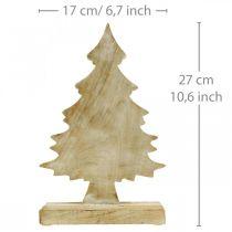 Déco sapin de Noël en bois, sapin de Noël blanc lavé 27×17×5cm