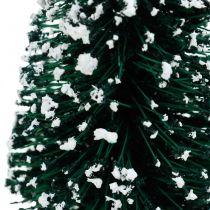 Sapin décoratif avec neige, décoration de Noël, Avent H13cm Ø5.5cm 2pcs