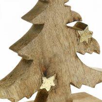 Sapin de Noël bois de manguier déco naturelle Sapin de Noël 20 × 18 × 5cm