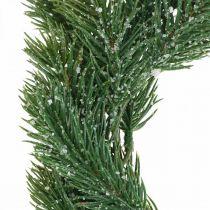 Couronne de sapin artificiel vert de Noël, glacé Ø25cm