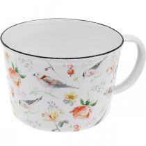 Jardinière oiseaux / fleurs, jardinière, tasse décorative en émail, jardinière