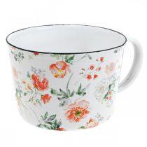 Coupe à plantes en émail, coupe décorative à décor de roses, jardinière Ø10cm H7cm