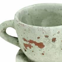 Cache-pot pot et soucoupe vintage gris, argile naturelle Ø8cm H6.5cm 4pcs