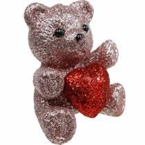 Bouchon décoratif ours avec coeur, Saint Valentin, bouchon de fleur paillettes 9pcs