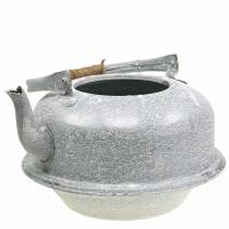 Jardinière bouilloire à thé gris zinc, blanchi à la chaux Ø26cm H15cm