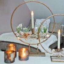 Verre photophore, bougeoir, lanterne en verre aspect antique Ø10cm H10.5cm 2pcs