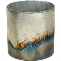 Bougie en verre, lanterne décorative, décoration de table aspect antique Ø9.5cm H10cm 4pcs