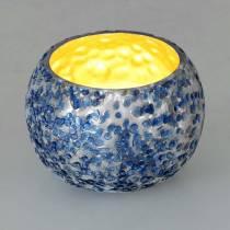 Lanterne en verre bleu argenté Ø8,5cm H6cm