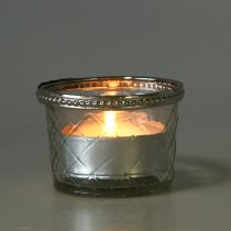 Losange en verre avec bougie Ø8cm H5,5cm 4pcs
