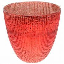Bougie lanterne en verre vase déco en verre rouge Ø21cm H21.5cm