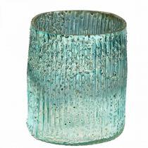 Photophore en verre bleu vent léger décoration de table en verre 12cm