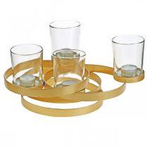 Bougeoir de l'Avent rond en métal doré avec 4 verres 34×26×18cm