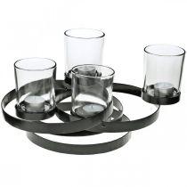 Bougeoir de l'Avent métal rond noir 4 verres 34×26×18cm