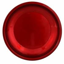 Assiette décorative en métal rouge avec effet glaçure Ø23cm
