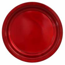 Assiette décorative en métal rouge avec effet glaçure Ø38cm