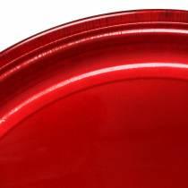 Assiette décorative en métal rouge avec effet glaçure Ø50cm