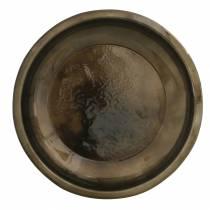 Assiette décorative en métal bronze effet glaçure Ø23,5cm
