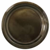 Assiette décorative en métal bronze effet glaçure Ø30cm