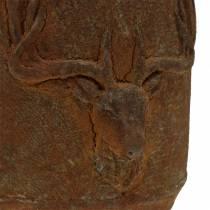 Cache-pot patine rouille avec tête de cerf Ø13,5cm H13cm