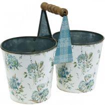 Pot de fleurs double pot de fleurs décoration d'été en métal avec poignée aspect vintage Ø11,5cm