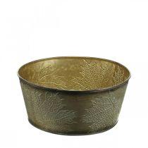 Bol d'automne, pot en métal à décor de feuilles, cache-pot doré Ø25cm H10cm