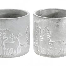 Cache-pots avec motif forêt, décoration de l'Avent, jardinière pour Noël, décoration béton Ø10,5cm H11cm 4pcs