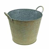 Seau vert avec anses Ø26cm jardinière look vintage métal rouille