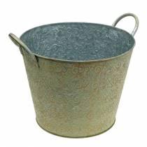 Seau vert avec anses Ø30cm Jardinière look vintage métal rouille
