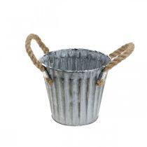 Cache-pot avec poignées, vase en métal, cache-pot aspect antique Ø12cm
