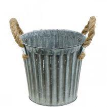 Pot en métal pour la plantation, jardinière, pot de fleurs avec poignées Ø18cm