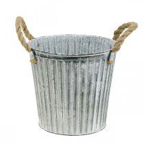 Pot décoratif à planter, pot en métal avec anses, décoration en métal Shabby Chic Ø21,5cm