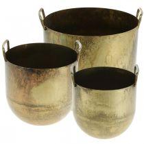Cache-pot cache-pot aspect ancien avec anses métal H17 / 19,5 / 26cm, lot de 3